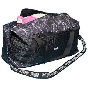 PINK Victoria's Secret Marble black duffel bag